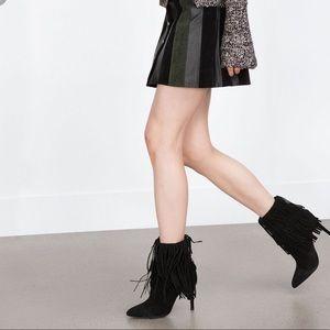Zara suede fringe pointed booties!